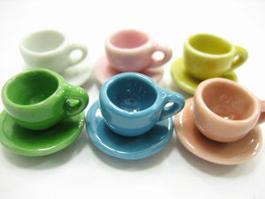 Dollhouse Miniature Mixed Color Ceramic Tea Cup Saucer Round Plate #S