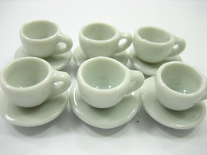 Dollhouse Miniature White Ceramic Coffee Cup Saucer Round Plate #S