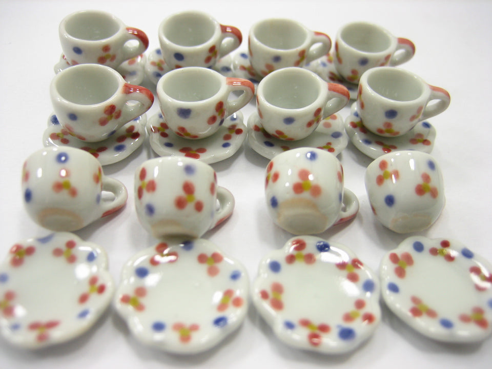 Paint Coffee Cup Saucer Scallop Plate Dollhouse Miniature Ceramic Supply #S