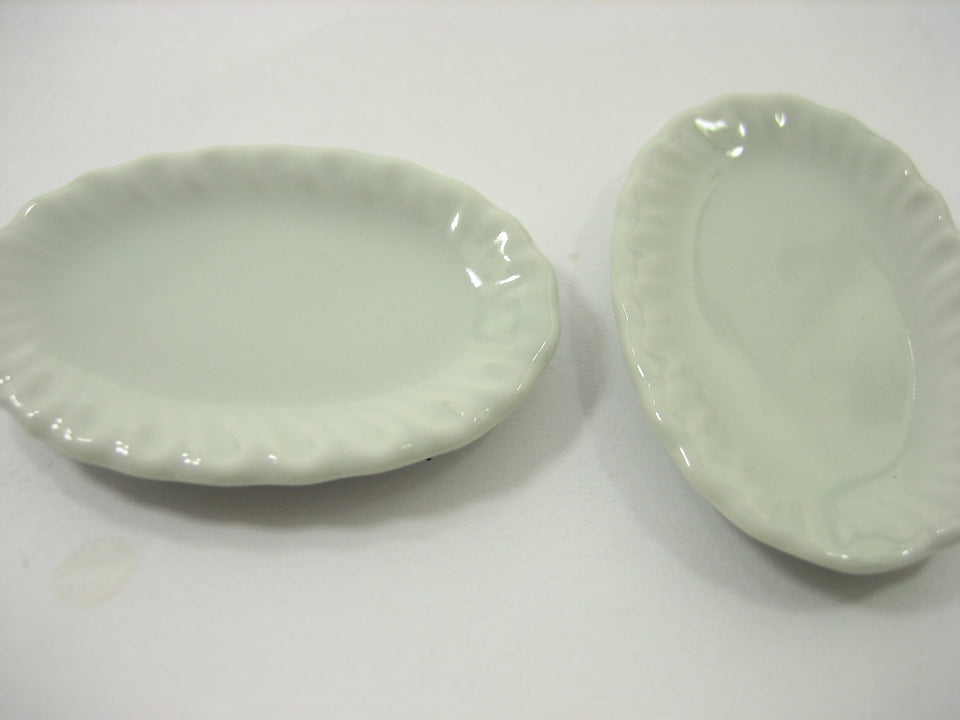 35x50mm Of 6 White Large Oval Plate Dish Tray Dollhouse Miniatures Ceramic 12675