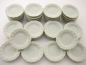 25mm White Scallop Edge Plate Dish Soup Dollhouse Miniatures Ceramic
