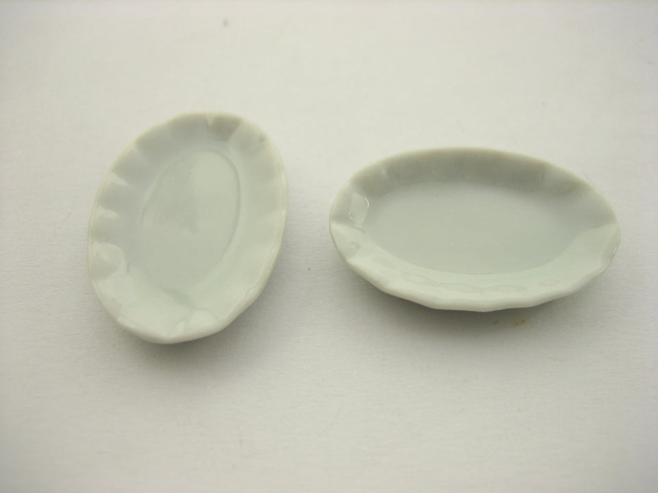 New 30mm White Oval Plate Dish Dollhouse Miniatures Ceramic Supply