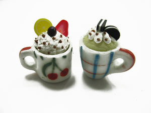 Dollhouse Miniature Food 2 Mug Cake Beverage Drink Ceramic Paint Cup 12720