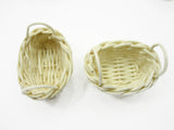 Dollhouse Miniature Handmade Small Oval Wicker Basket #B Supply Charms
