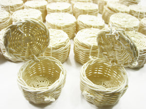 Picnic Wicker Round Baskets Dollhouse Miniatures Handmade Supply Charms