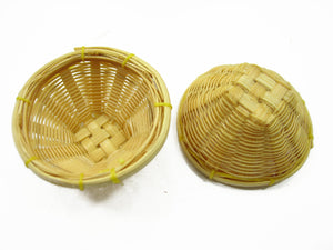 Dollhouse Miniature Handmade 3cm Wicker Bread Fruit / Crisp Basket
