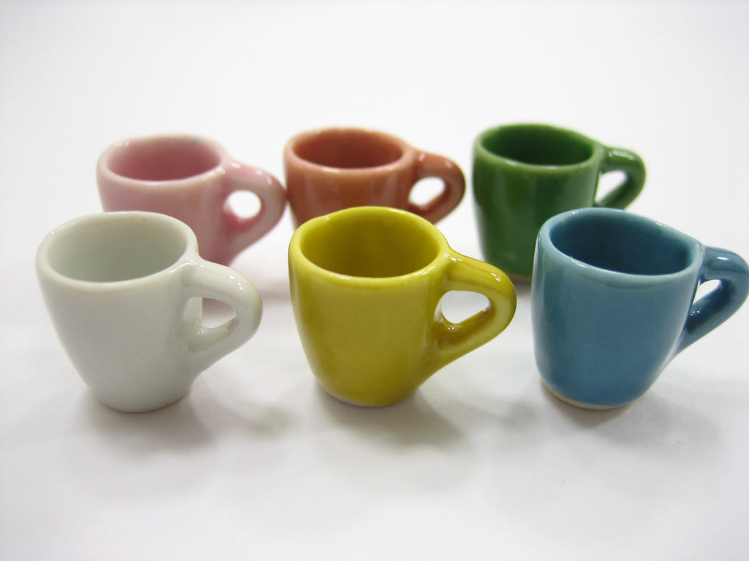 6 Mixed Color Ceramic Tea Coffee Mug Cup Dollhouse Miniature Supply Charms 12785