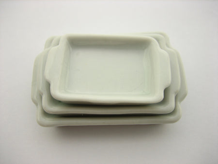 Mixed Set Of 3 White Baking Pan Tray Dollhouse Miniatures Ceramic Supply 12797
