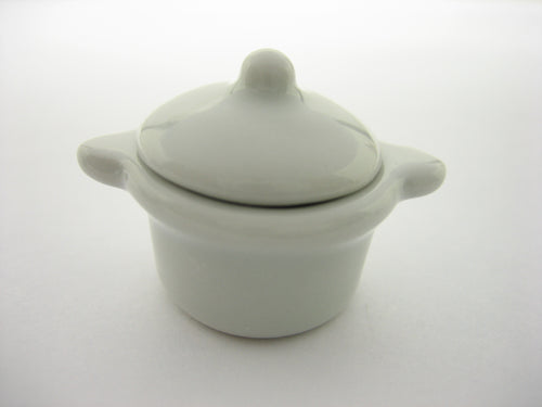 Ceramic White Kitchenware Soup Pot Dollhouse Miniatures Food Supply 12806