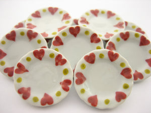 10x25mm Red Heart Paint Plate Dish Dollhouse Miniature Ceramic Supply 12809