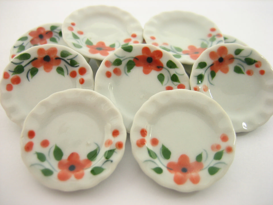 10x25mm Orange Flower Paint Plate Dish Dollhouse Miniature Ceramic Supply 12811
