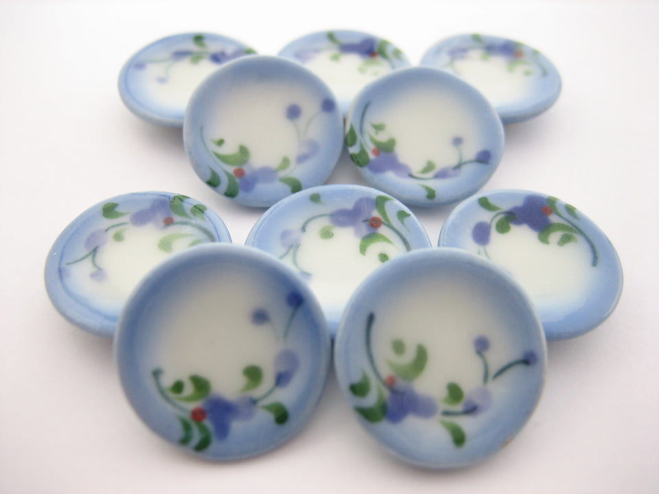 10x15mm Orchid Flower Paint Round Plate Dish Dollhouse Miniature Ceramic 12813