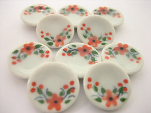 10x15mm Orange Flower Paint Round Plate Dish Dollhouse Miniature Ceramic 12816