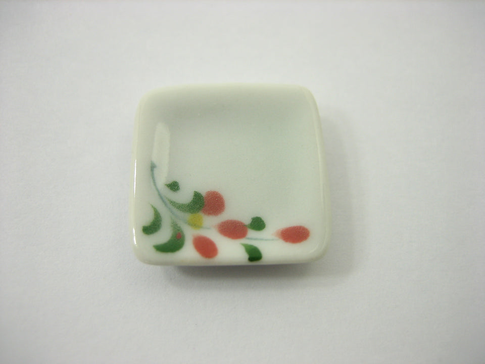 20x20mm Red Orchid Paint 10 Square Plate Dish Dollhouse Miniature Ceramic 12832
