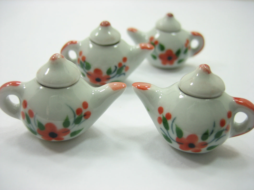 Set 4 Coffee Pot Teapot Orange Flower Paint Dolls House Miniatures Ceramic 12933