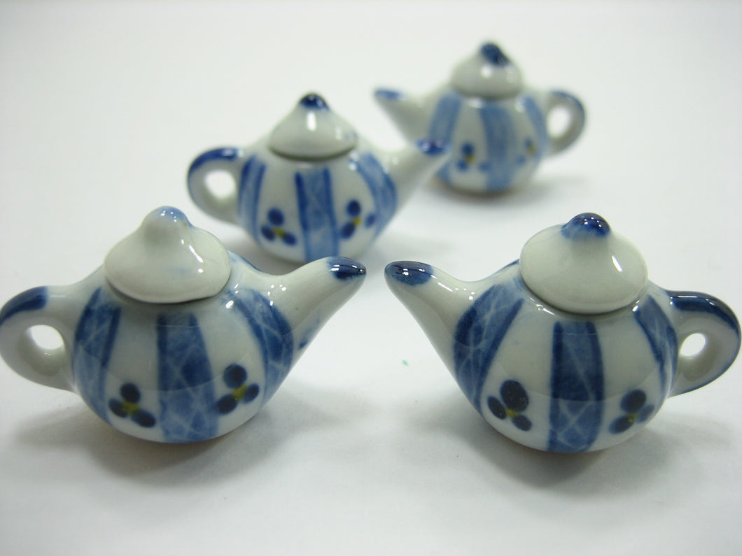 Set 4 Coffee Pot Teapot Blue Paint Dollhouse Miniature Ceramic Supply 12935