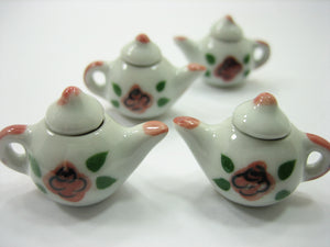 4 Coffee Pot Teapot Rose Flower Paint Dollhouse Miniature Ceramic Supply 12938