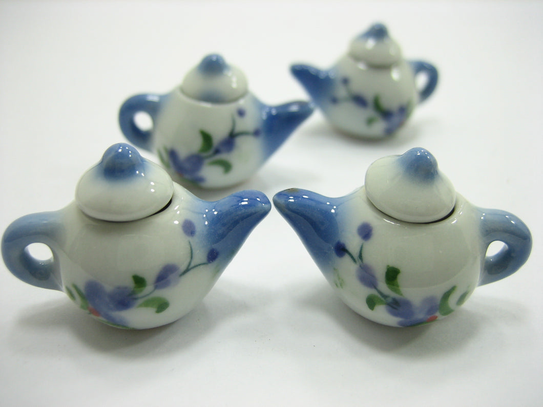 Set 4 Coffee Pot Teapot Orchid Flower Paint Dollhouse Miniatures Ceramic 12939