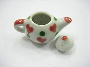 4 Coffee Teapot Red Heart Green Spot Paint Dollhouse Miniature Ceramic 12940