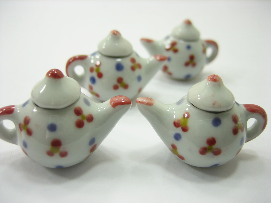 Set 4 Coffee Pot Teapot Flower Paint Dollhouse Miniatures Ceramic Supply 12942