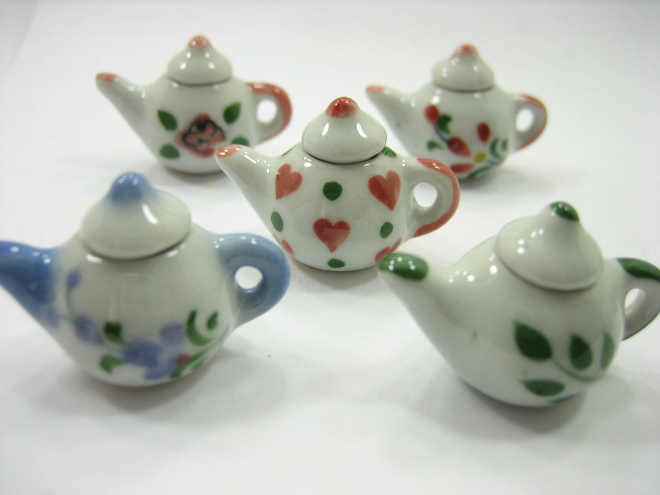 Set 5 Mixed Coffee Pot Teapot Assorted Paint Dollhouse Miniatures Ceramic 12944