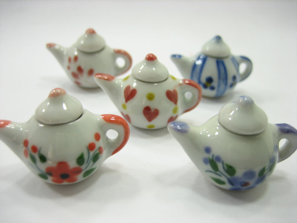 Set 5 Mixed Coffee Pot Teapot Assorted Paint Dollhouse Miniature Ceramic 12945