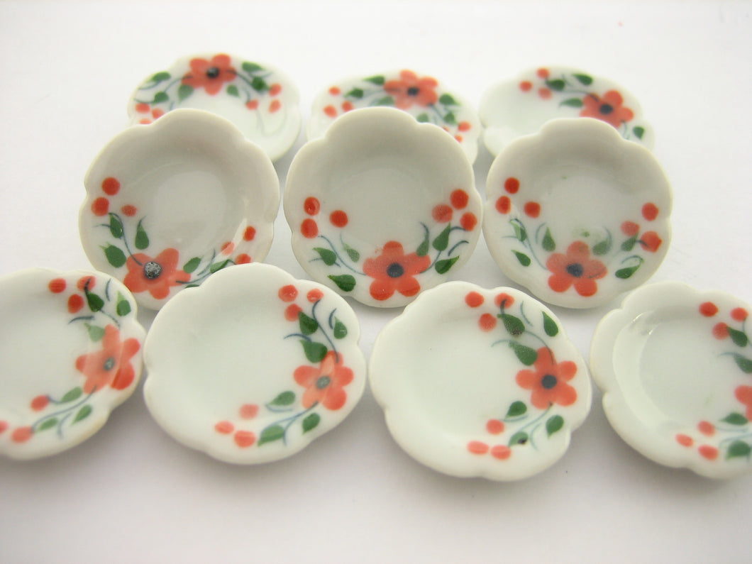 10x20mm Orange Flower Paint Scallop Plate Dish Dollhouse Miniature Ceramic 12949