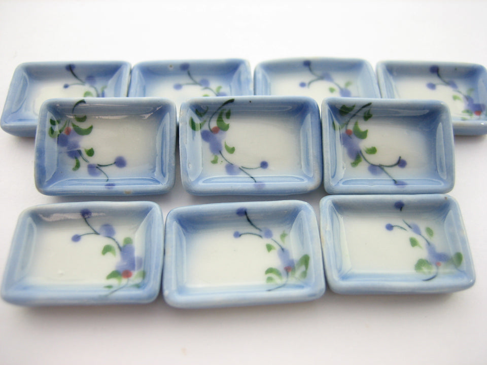 15x20mm Orchid Flower 10 Rectangle Plate Dish Dollhouse Miniature Ceramic 12951
