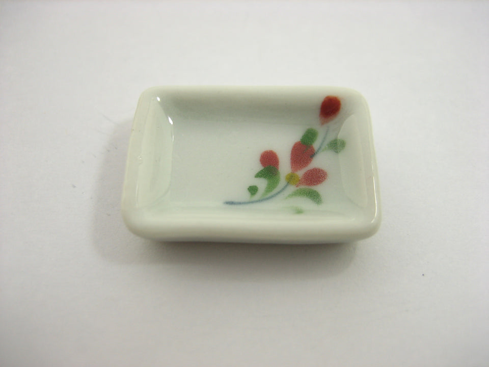 15x20mm Red Orchid 10 Rectangle Plate Dish Dollhouse Miniature Ceramic 12955