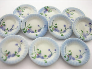 10x20mm Orchid Flower Paint Plate Dish Dollhouse Miniatures Ceramic Supply 12956
