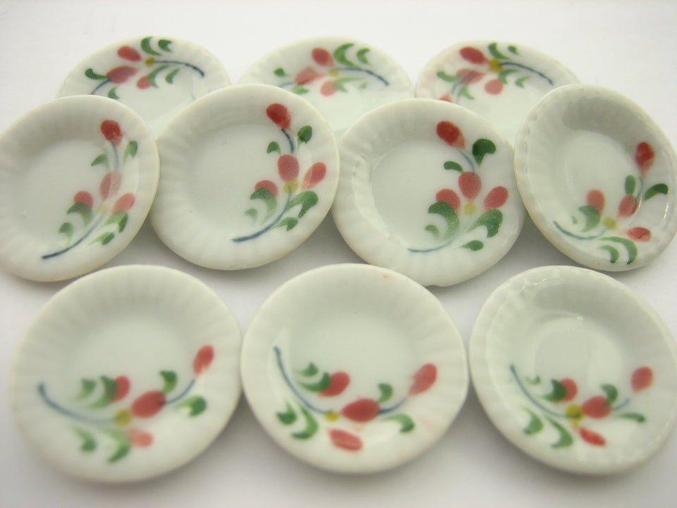 10x20mm Red Orchid Flower Paint Plate Dish Dollhouse Miniature Ceramic 12960