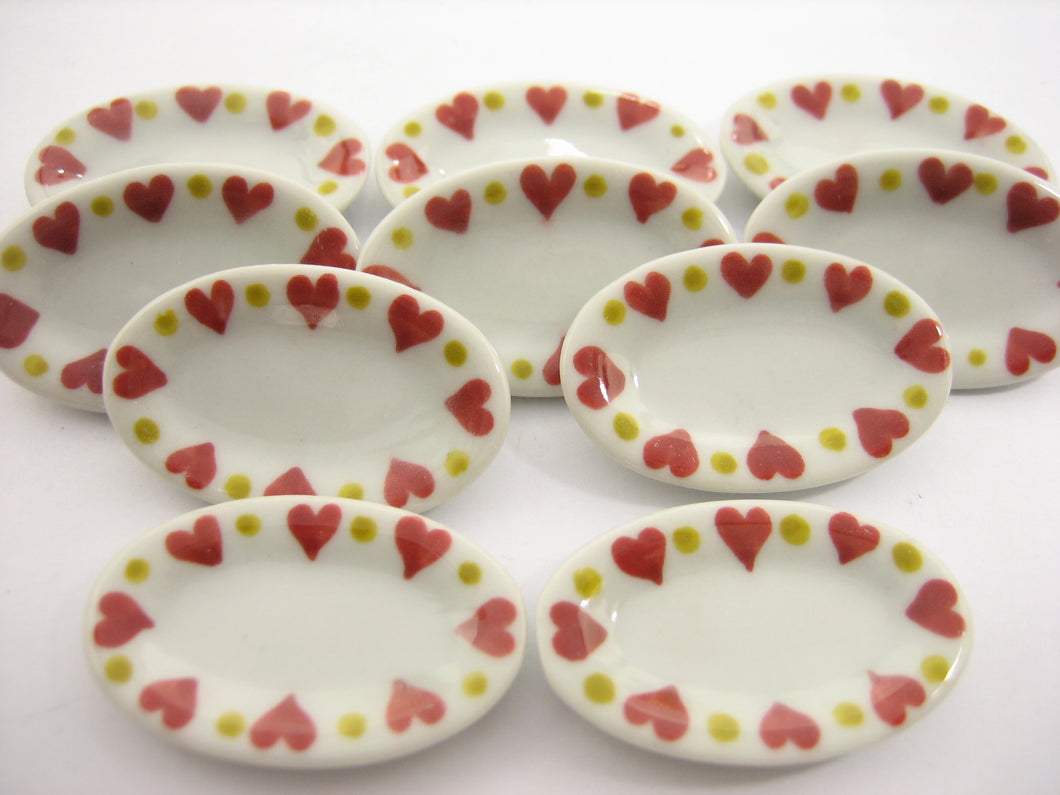 10x30mm Red Heart Paint Oval Plate Dish Dollhouse Miniatures Ceramic 12967