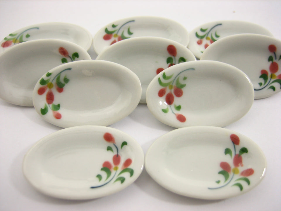 10x30mm Red Orchid Flower Oval Plate Dish Dolls House Miniature Ceramic 12970
