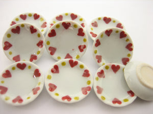 10x25mm Red Heart Paint Plate Dish Dolls House Miniature Ceramic Supply 12972