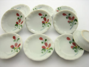 10x25mm Red Orchid Flower Paint Plate Dish Dollhouse Miniature Ceramic 12975