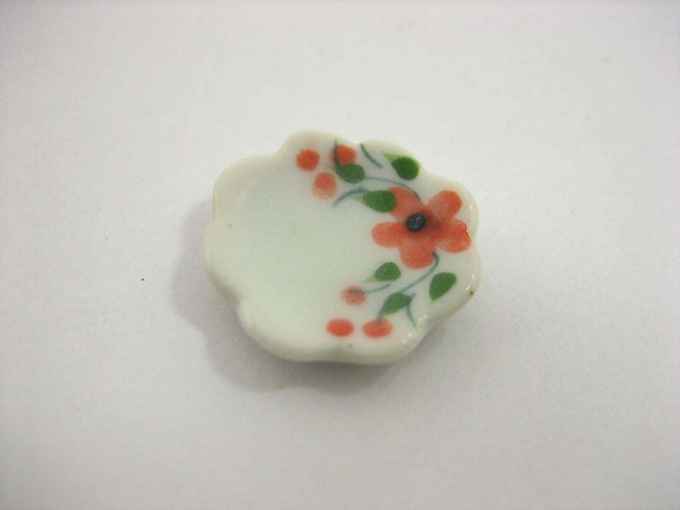 10x15mm Orange Flower Scallop Plate Dish Dollhouse Miniatures Ceramic 12979