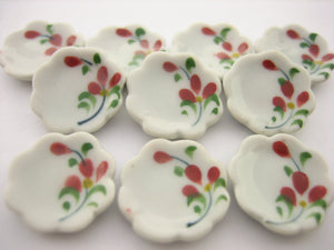 10x15mm Red Orchid Flower Scallop Plate Dish Dollhouse Miniature Ceramic 12980