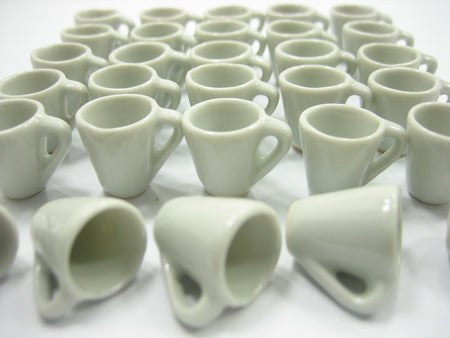 NEW White Coffee Tea Cup Mug Dollhouse Miniature Ceramic Kitchenware
