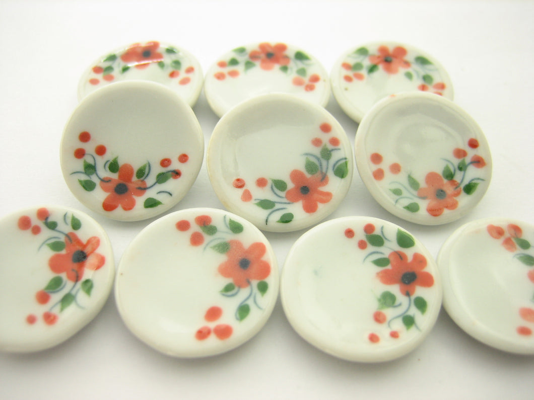 10x20mm Orange Flower Paint Plate Dish Dollhouse Miniatures Ceramic Supply 13208