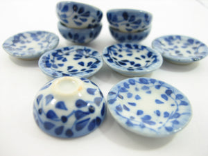 Set 10 Mixed Bowl Plate Dish Spot Blue Paint Dolls House Miniature Ceramic 13213
