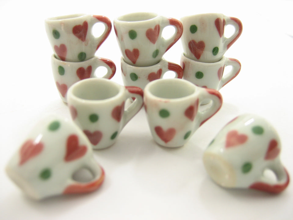 10 Heart Hand Paint Ceramic Tea Coffee Mug Cup Dollhouse Miniatures Supply 13221