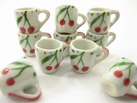 10 Cherry Hand Paint Ceramic Tea Coffee Mug Cup Dollhouse Miniature Supply 13223