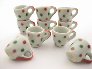 10 Green & Red Spot Paint Ceramic Tea Coffee Mug Cup Dollhouse Miniature 13224