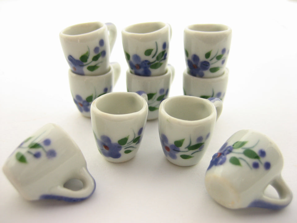 10 Lilac Flower Paint Ceramic Coffee Mug Cup Dollhouse Miniature Supply 13225