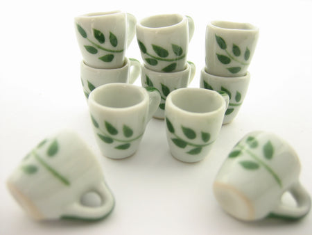 10 Green Paint Ceramic Tea Coffee Mug Cup Dollhouse Miniature Supply 13226