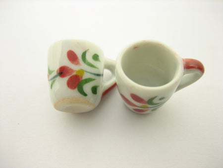 10 Red Orchid Flower Paint Ceramic Tea Coffee Mug Cup Dollhouse Miniatures 13227