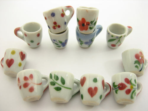 12 Mixed HandPaint Ceramic Tea Coffee Mug Cup Dollhouse Miniatures Supply 13228