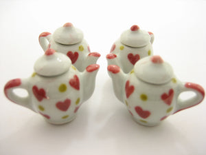 4 Coffee Teapot Red Heart Yellow Spot Paint Dollhouse Miniatures Ceramic 13233