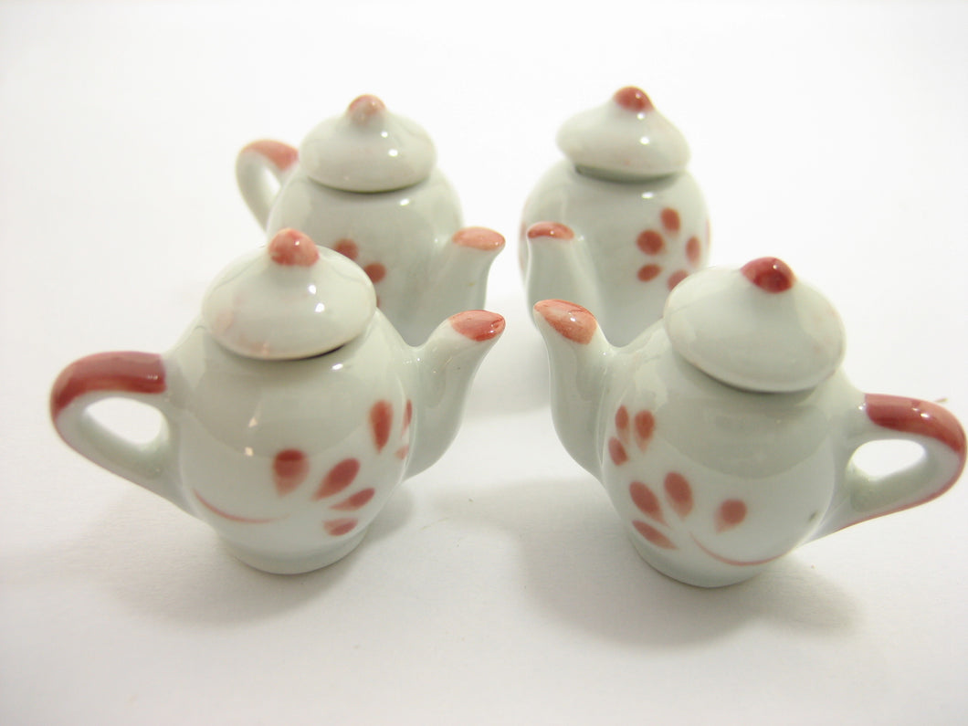 Set 4 Coffee Pot Teapot Red Paint Dollhouse Miniature Ceramic Supply 13234