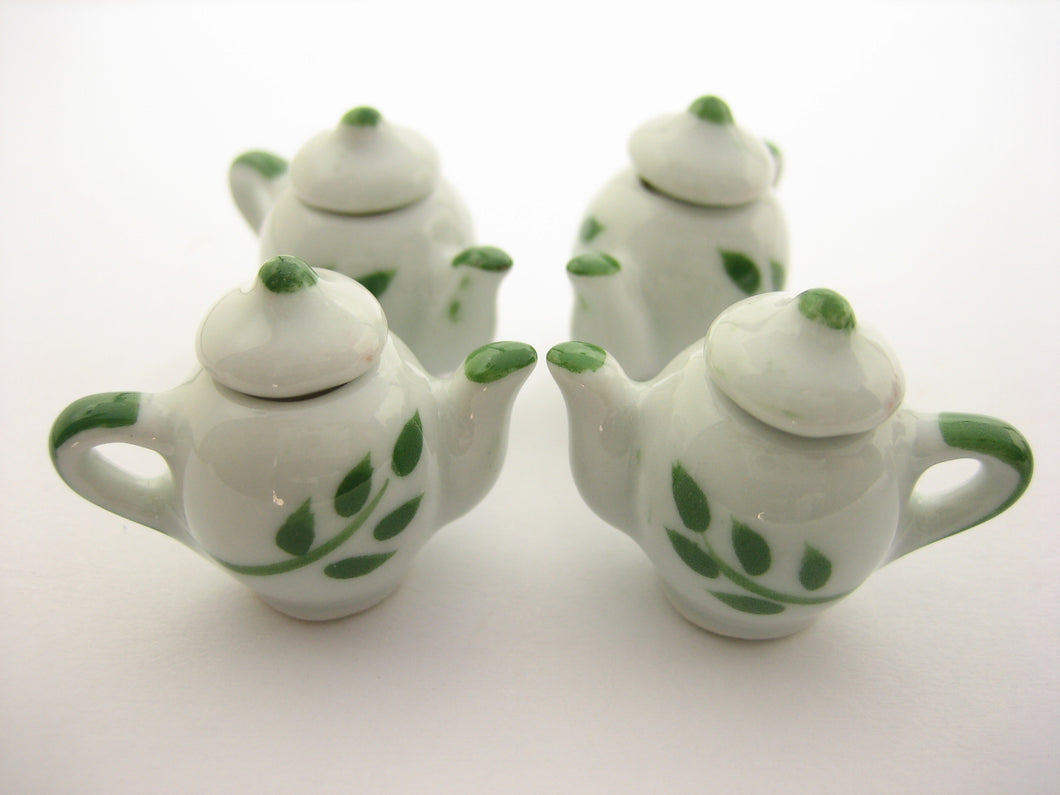 4 Coffee Teapot Green Paint Leaf  Dollhouse Miniatures Ceramic Supply 13236